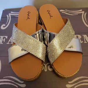 Silver studded cross sandals